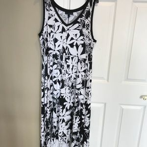 Lane Bryant black white floral high low dress New
